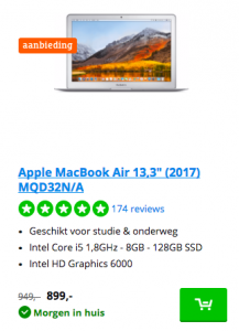 Macbook Air 13,3 inch MQD32N/A
