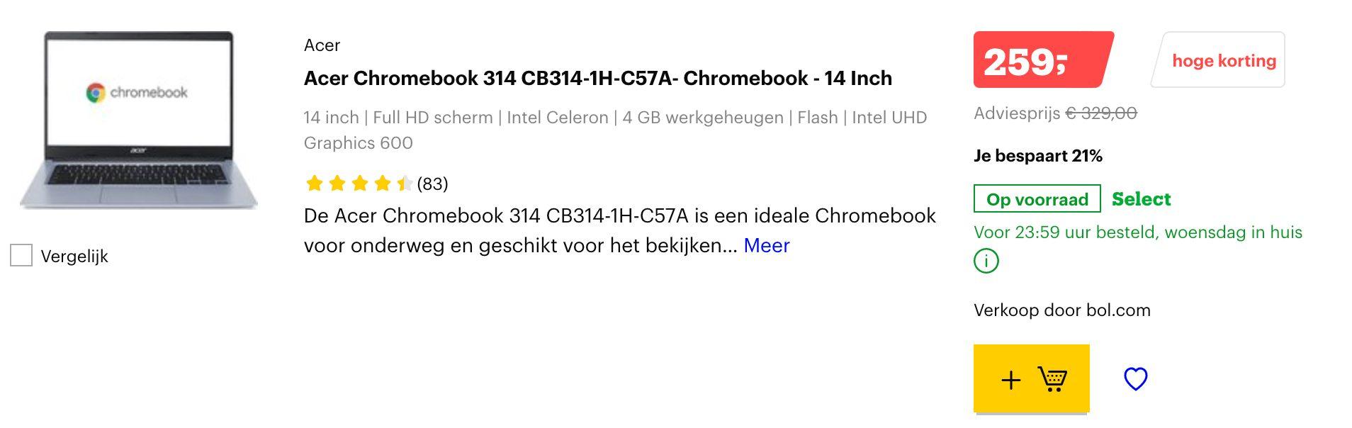 Acer Chromebook 314 CB314-1H-C57A aanbieding