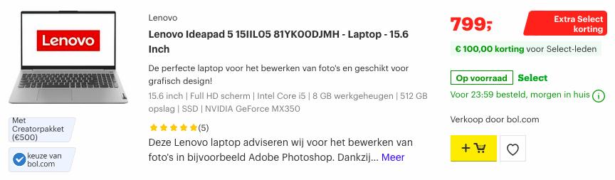 Lenovo Ideapad 5 15IIL05 81YK00DJMH deal