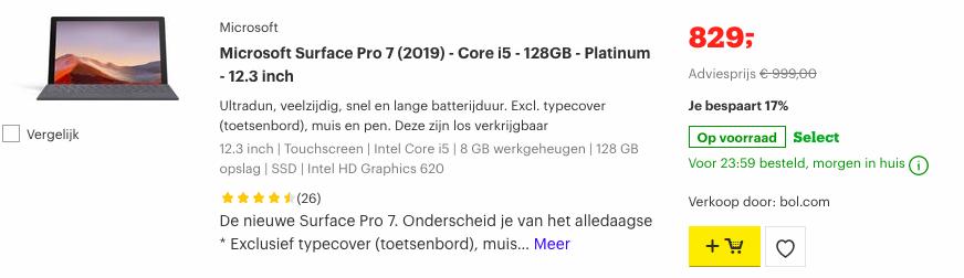 Microsoft-Surface-Pro-7-2019-Corei5-128GB-Platinum-12.3-inch-aanbieding-Bolcom