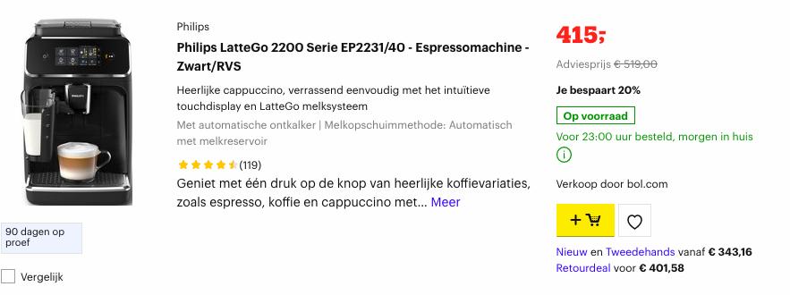 Philips LatteGo 2200 Serie EP2231/40 Espressomachine