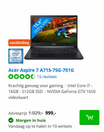 Acer Aspire 7 A715-75G-751G deal bij Coolblue