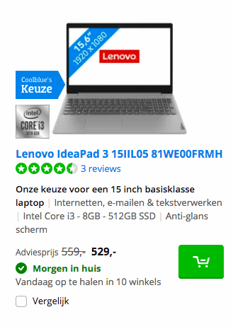 Lenovo IdeaPad 3 15IIL05 81WE00FRMH deal