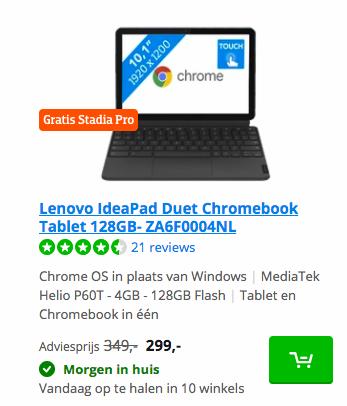 Lenovo IdeaPad Duet Chromebook Tablet 128GB- ZA6F0004NL Coolblue deal