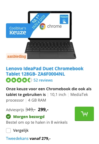 Lenovo IdeaPad Duet Chromebook Tablet 128GB- ZA6F0004NL aanbieding