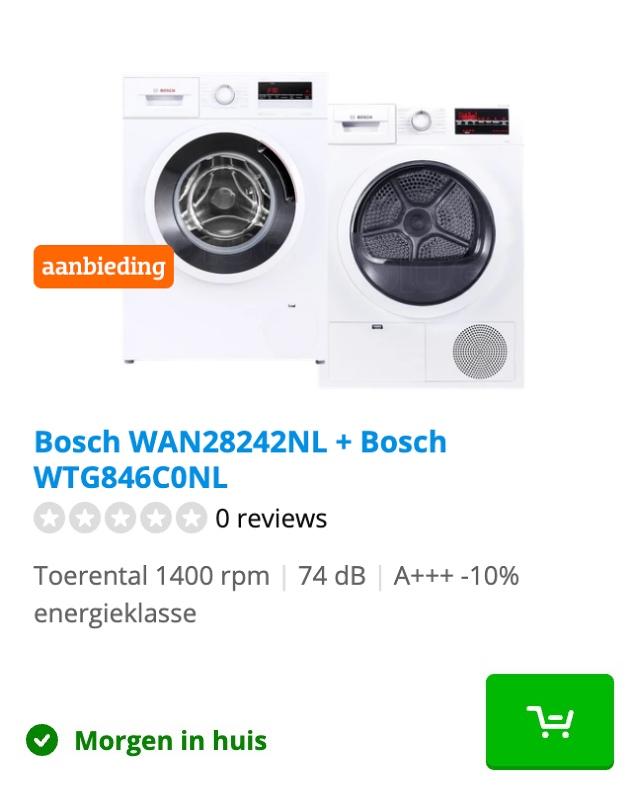 wasmachine en droger set bosch