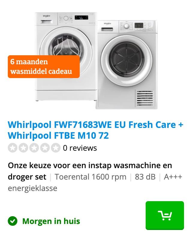 wasmachine en droger set coolblue