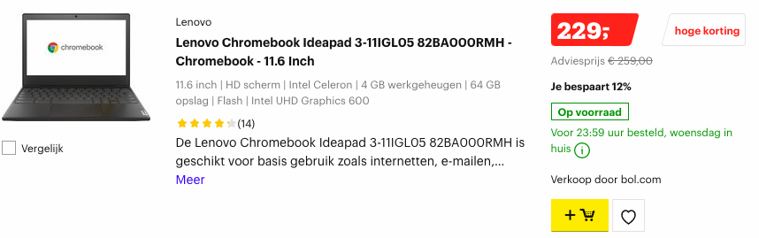 Lenovo Chromebook Ideapad-3-11IGL05-82BA000RMH