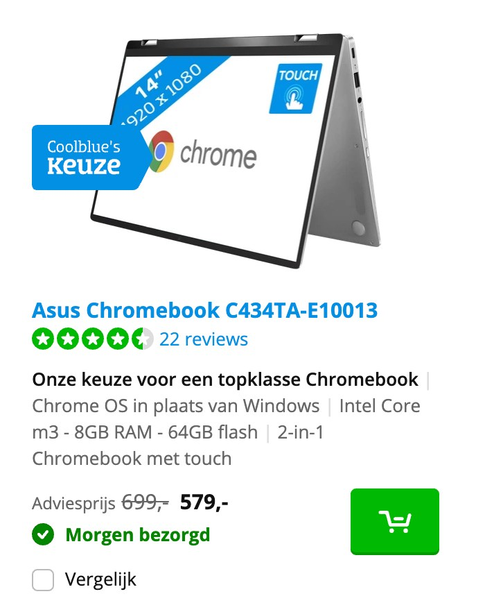 Asus Chromebook C434TA-E10013 aanbieding