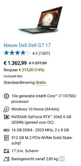 Dell G7 17 aanbieding