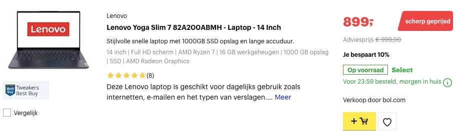 Lenovo Yoga Slim 7 82A200ABMH aanbieding
