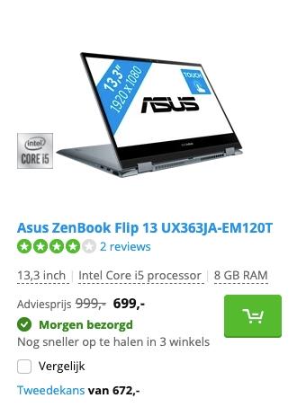 Asus ZenBook Flip 13 UX363JA-EM120T aanbieding
