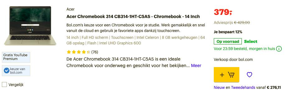 Acer Chromebook 314 CB314-1HT-C5AS - Chromebook - 14 Inch