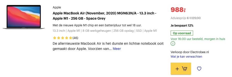 apple macbook air 2020 aanbieding