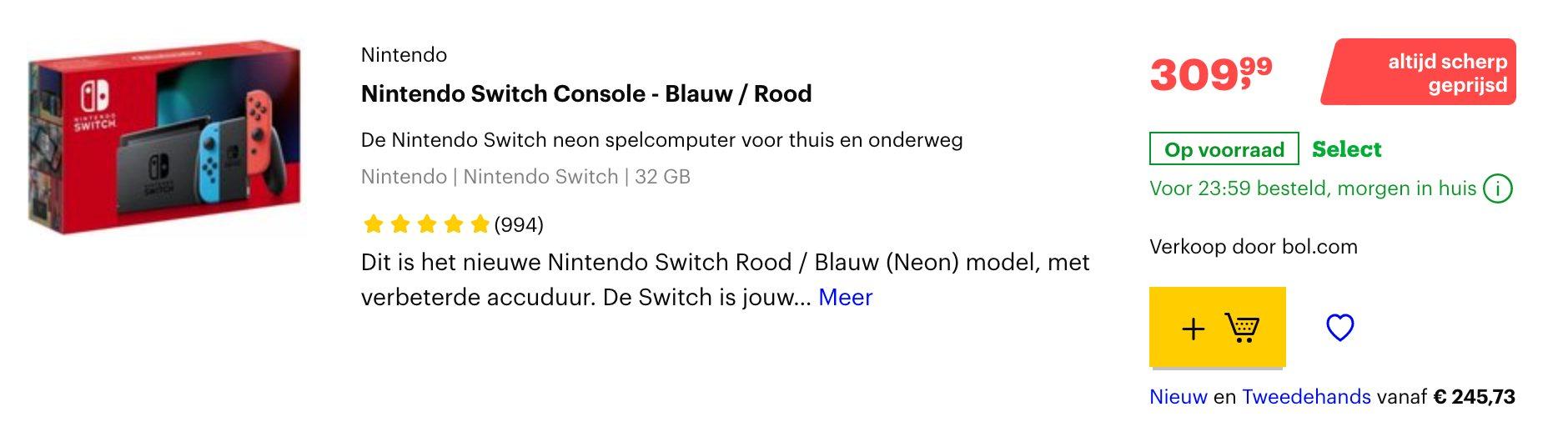 nintendo switch aanbieding bol.com