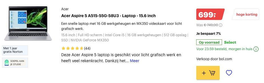 Acer Aspire 5 A515-55G-58U3 aanbieding